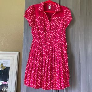 Forever 21 Red Pleated Collared Dress